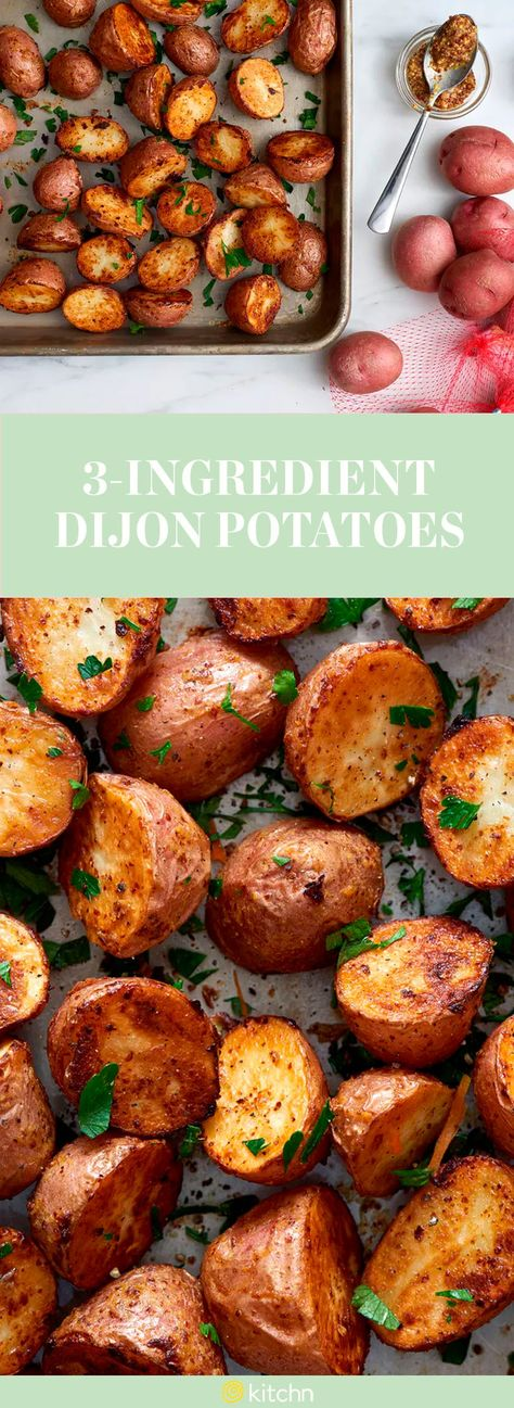 Potatoes are usually the side dish to making the main dish look even more presentable, but these 3-ingredient dijon potatoes are taking the role of the main course this time. Either as a side dish or a main, this potato recipe calls for red potatoes, whole-grain Dijon mustard, olive oil and you can top them off with kosher salt and pepper.