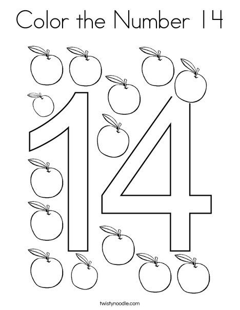 Color The Number 14 Coloring Page Twisty Noodle Number 14 Numbers Preschool Coloring Pages