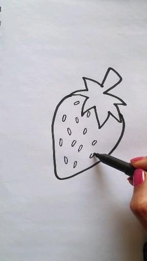 """Strawberry colouring and drawing tutorial step by step Easy to draw. Full tutorial on youtube channel. Click on """"Visit"""". Easy to draw. Easy drawing ideas for kids and beginners."""