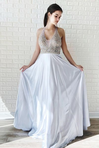 5f53f5efe58f2 A-Line Halter White Long Prom Dress with Beaded Top · lass · Online ...