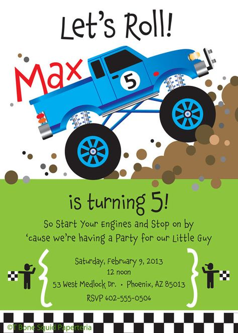 Monster Truck Birthday Party Invitation for kids by TBoneSquid, $15.00