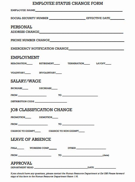 Employee Status Change Form Template Lovely 6 Employee Status Change Forms Word Excel Templates Invoice Template Notes Template Business Template
