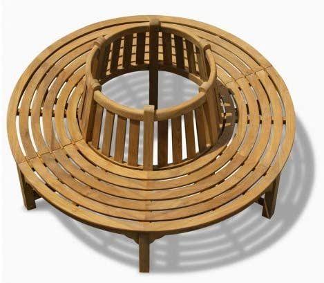 Amazon De Teako Design Baumbank Fermo Wetterfest Teakholz Massiv Ruckenlehne Aussendurchmesser 200 Cm 360 Baumsitz Teak Baumbank