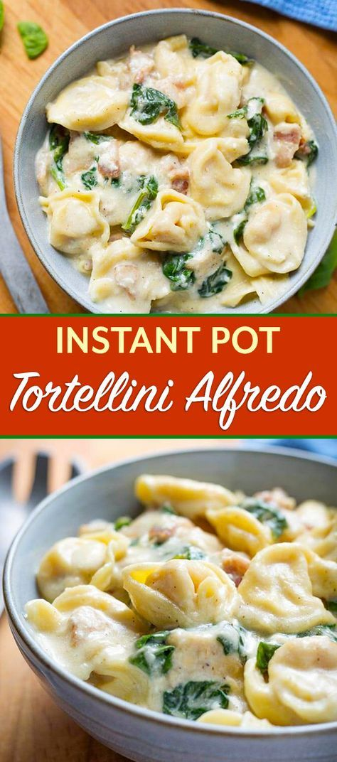 Instant Pot Tortellini Alfredo with chicken and spinach is so amazingly flavorful and rich. This is a tasty Instant Pot one-pot pasta meal. Make this pressure cooker Tortellini Alfredo when you want the best comfort food! Instant Pot Pasta Recipe, Best Instant Pot Recipe, Instant Recipes, Instant Pot Dinner Recipes, Instant Pot Meals, Recipes Dinner, Tortellini Alfredo, Tortellini Recipes, Pasta Recipes