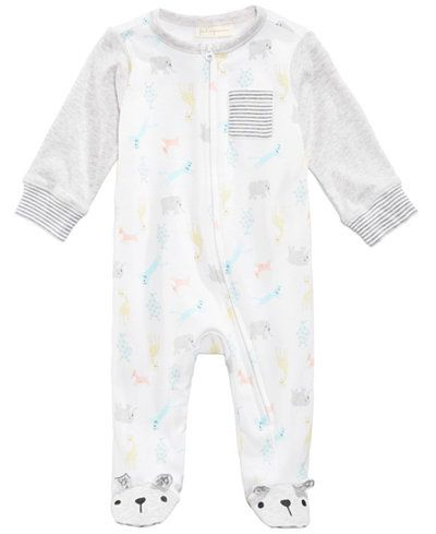 ac99260ec540 First Impressions Zoo-Print Footed Coverall