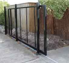 DIY Sliding gate kit before timber was applied