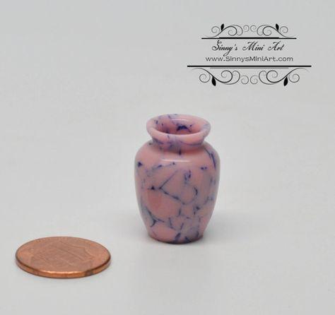 1:12 Handmade Dollhouse Miniature Vintage Porcelain Flower Pot Vase Home De IS