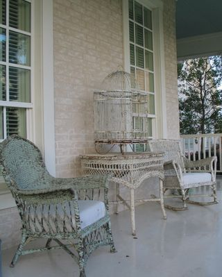 decorating with bird cages outside.