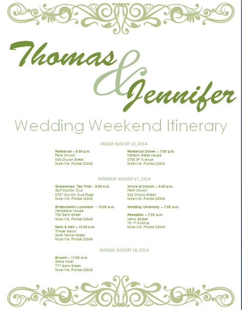 Sage Wedding Itinerary Template. Download Template on Bridetodo.com.