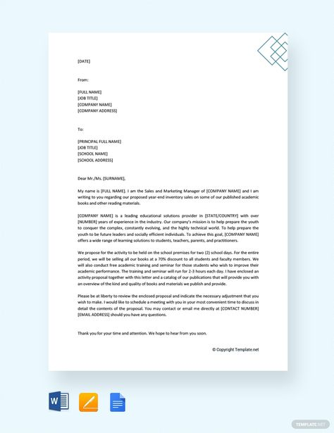 Free Formal Proposal Letter To School Principal Proposal Letter