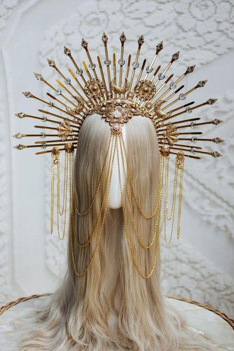 Fantasy Hair, Fantasy Dress, Fantasy Jewelry, Headpiece Jewelry, Hair Jewelry, Jewellery, Halo Headband, Diy Crown, Goddess Hairstyles