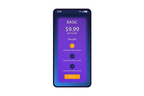 Tariff plan smartphone interface