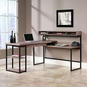 Transit L Shaped Modern Computer Desk 61 W X 59 D Rustic Charm Office Desks And Neutral