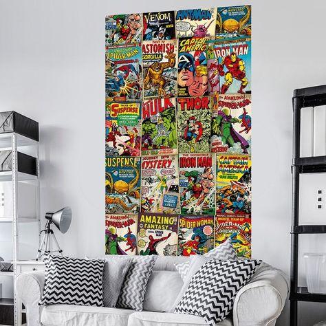 Poster Geant Intisse Couverture De Bd Marvel Retro Homedecor