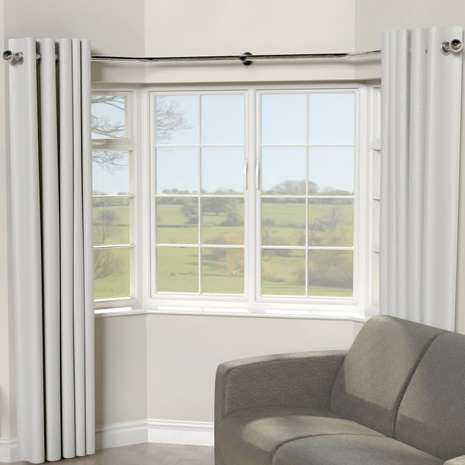 Crafted With A Unique Bending System To Allow You To Shape The Pole Around You Bay Window Living Room Bay Window Curtain Poles Bay Window Curtains Living Room