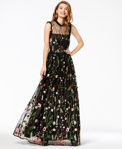 City Studios Juniors Ruffle Trim Embroidered Gown A Macy S Exclusive Style Macys Prom Dress Floral Prom Dresses Embroidered Gown