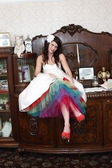 Short Dress Rainbow Wedding
