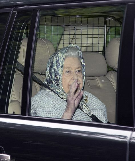 She's arrived! The Queen lifted her arm and waved as she arrived at Balmoral Castle after ...