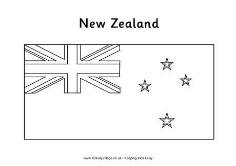 New Zealand Flag Colouring In New Zealand Flag Flag Coloring Pages Flag Template