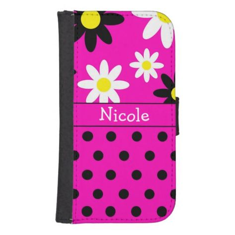 Pink Flower & Polka Dot Wallet Phone Case