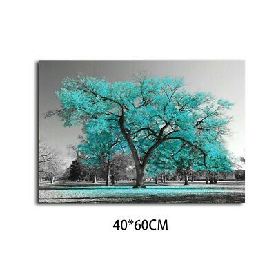 Decor Print Painting Living Room Large Teal Turquoise Leaves Canvas Wall Hot