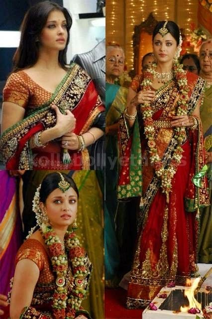 Bollywood Style Aishwarya Rai Net Saree in Red color