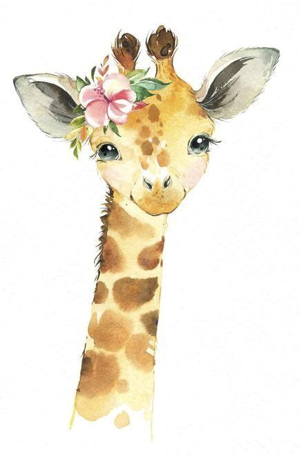 Africa Giraffe Monkey Rhino Watercolor little animals clipart safari savannah baby portrait wreath flowers, kids, nursery art, baby-shower