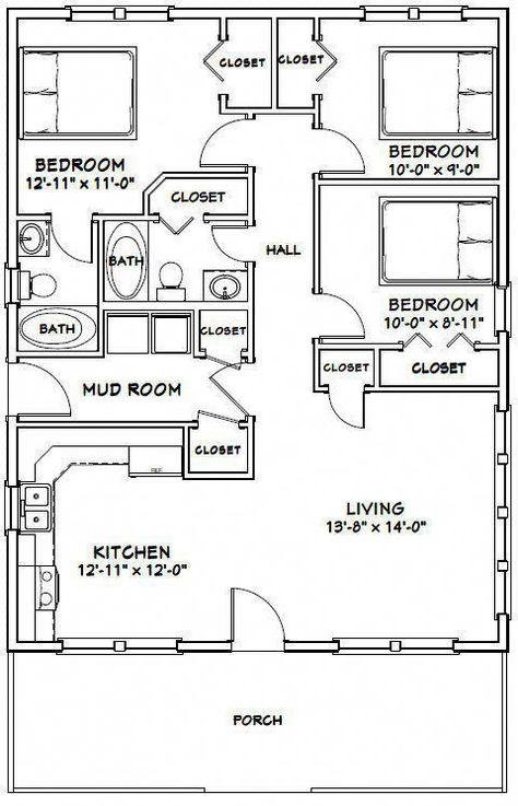 28x36 House 3 Bedroom 2 Bath 1 008 Sq Ft Pdf Floor Plan Model 1d 29 99 Picclick Wo Small House Floor Plans Tiny House Floor Plans House Plans