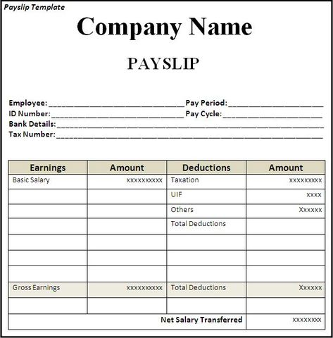 Get Employee Pay Slip Template Format Projectmanagersinn Excel - free wage slip template