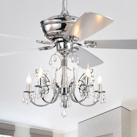 Antique Grey 5 Light Metal Chandelier Ceiling Fan with Remote