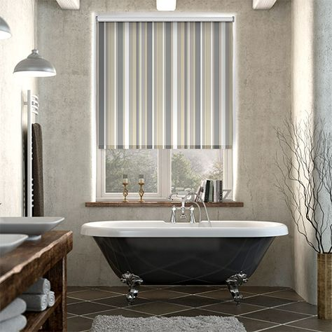 Stripy and stylish, the Splash Hampton Stripe roller blind will work perfectly in a bathroom with more natural accents.