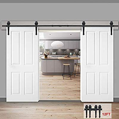 Smartxchoices 12ft Heavy Duty Double 2 Sliding Barn Door Hardware Kit Closet Smooth Roller Rail Track S Sliding Barn Door Hardware Barn Door Barn Door Projects