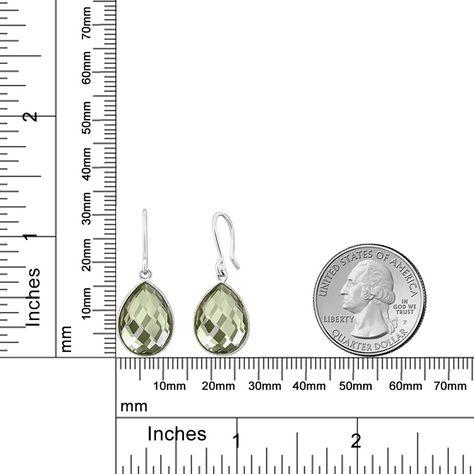 13.00 Ct Green Amethyst 16X12MM Pear Shape 925 Sterling Silver Dangle Earrings
