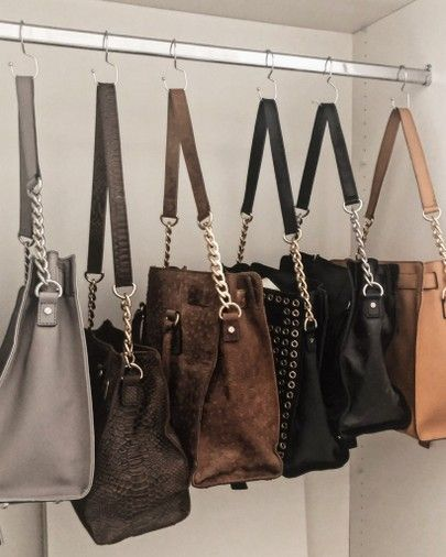 Use A Closet Rod And Hooks To Hang Larger Hand Bags And Purses To Keep Your Clos Bags Handbag Organization Closet Rod Closet Organization