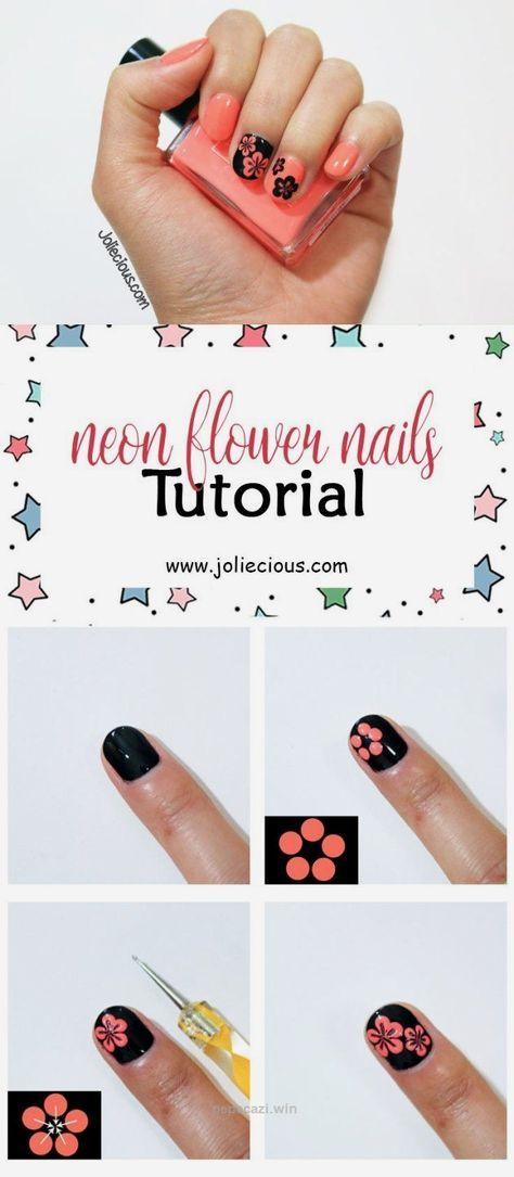 Neon Flower Nails Tutorial Summer Nails Flower Nail Art Design Easy Nail Art Flower Nails Diy Nail Designs Nail Art Summer