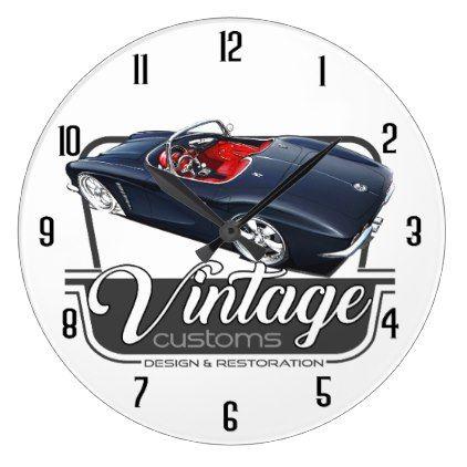 Vintage Black Muscle Large Clock Classic Gifts Gift Ideas Diy Custom Unique Vintage Wall Clock Vintage Vintage Clock