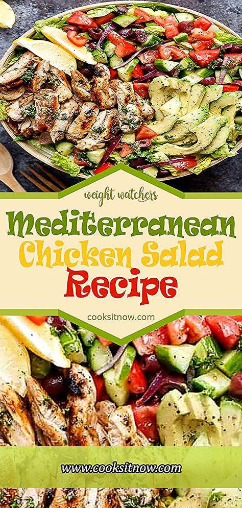 Mediterranean Chicken Salad Recipe. Grilled Lemon Herb Mediterranean Chicken Salad that is full of Mediterranean flavours with a dressing that doubles as a marinade!   #mediterranean #chicken #salad #recipe #avocado #cucumber #scallions #olives #vinaigrette