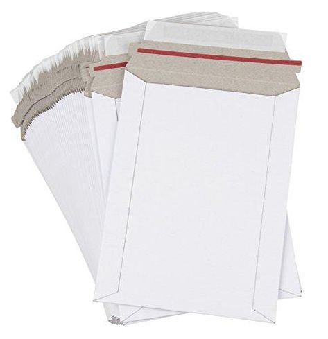 White Rigid Mailing Envelopes, Stay Flat Mailers (6 x 8 Inches) - 100 Pack