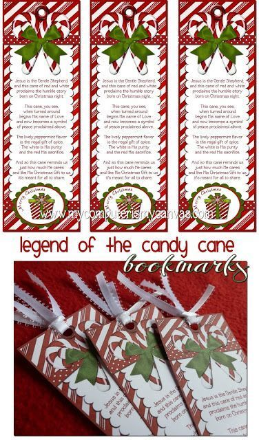 FREE PRINTABLE! Candy Cane Legend Bookmarks, great gift idea for Sunday School, Church Classes, Christian Gift #mycomputerismycanvas #christmas #christmasgifts #christmascrafts #candycanes