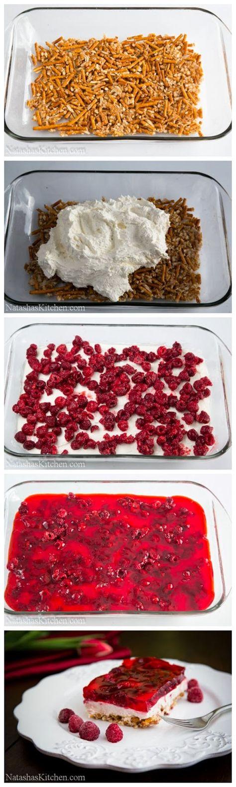 Raspberry Cream Cheese Pretzel Jello-- Try with strawberries and strawberry jello?