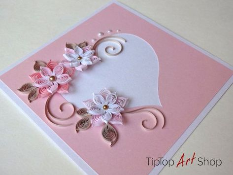 Handmade greeting card with quilted paper in pink with / #card #Greeting #handmade #paper #PINK #QuilledPaperArtpictures #quilted