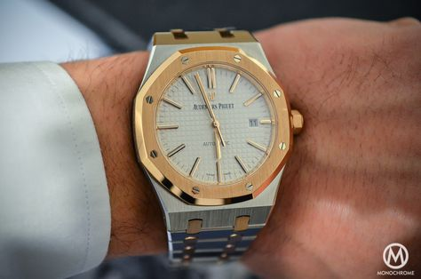 SIHH 2015 - Audemars Piguet Royal Oak 15400 Two-Tone - hands-on with live photos, specs & price - Monochrome-Watches