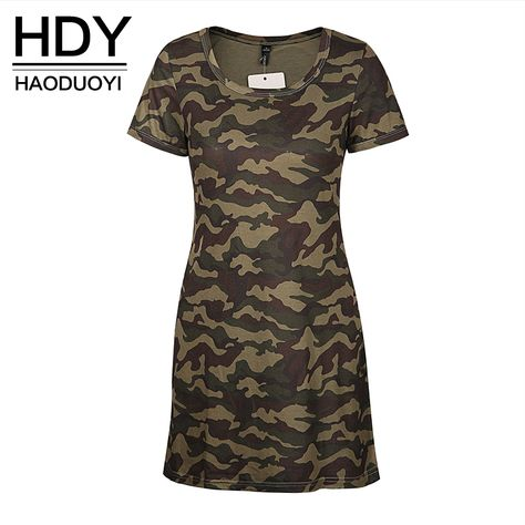e65ca316a7c15 HDY Haoduoyi Women Summer Army Vintage Camouflage Print Dress Short Sleeve  O neck Girl Short Dresses for wholesale-in Dresses from Women's Clothing ...