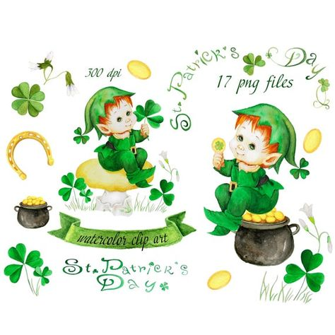 Hand Painted Watercolor Clipart St Patricks Day Digital Item No Physical Items Will Be Sent Instant Download 17 Png Separate Files In 4 Zip Files