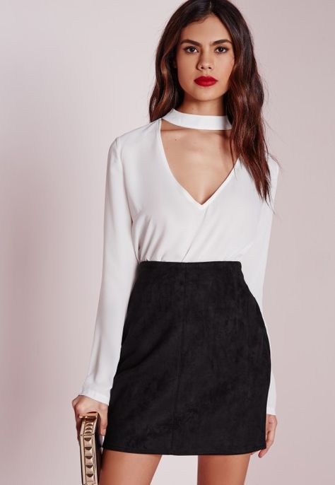 4baa9c105 Bonded Faux Suede Mini Skirt Black - Skirts - Faux Leather & Suede Skirts -  Missguided