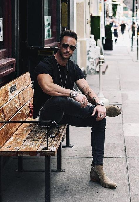 - with a summer outfit idea featuring a black t-shirt black skinny denim sand suede jodhpur boots with wrist accessories sunglasses