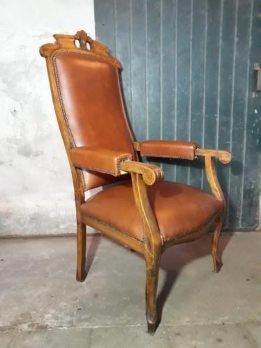 Wonderbaarlijk Oude Antieke Leren Rookstoel Standenstoel Fauteuil | Fauteuil NI-91