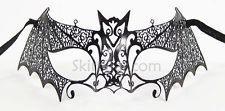 Bat LASER CUT Metal Venetian Mask Masquerade Costume BLACK NEW Fancy Dress Ball