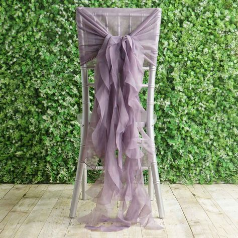 1 Set Amethyst Violet Chiffon Hoods With Curly Willow Chiffon Chair Sashes 1 Set Violet Amethyst Premium Designer Curly Willow Chiffon Chair Sashes Purple Wedding Decorations, Banquet Decorations, Lilac Wedding Themes, Lavender Wedding Colors, Rustic Purple Wedding, Quinceanera Decorations, Lavender Color, Ceremony Decorations, Wedding Flowers
