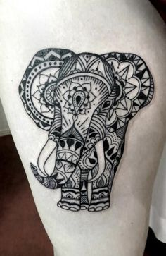 Aztec elephant tattoo. I absolutely LOVE it!!